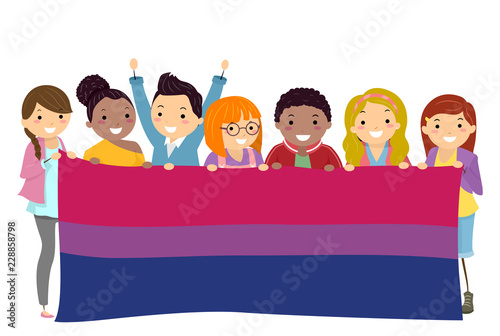 Cuadros en Lienzo Stickman People Bisexual Flag Illustration