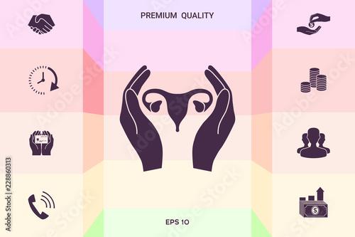 Photo sur Aluminium Art abstrait Hands holding Female uterus - protection icon . Graphic elements for your design