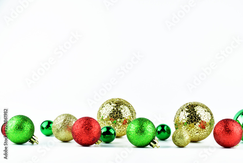 6b50ba368b5b Christmas party decoration concept, gold, green and red Christmas ornaments  on white background with