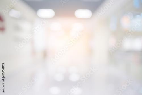 Stampa su Tela abstract blur image background of clinic hospital walkway corridor