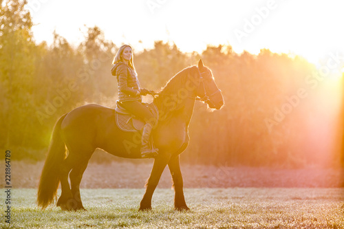 Canvas Woman riding a horse in park