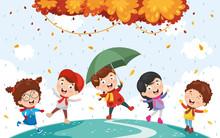 Vector Illustration Of Autumn Children