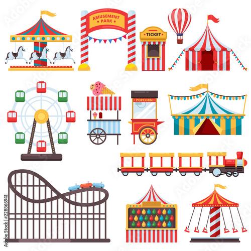 Stampa su Tela Amusement park isolated icons