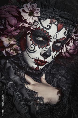 Ingelijste posters Halloween sugar skull make-up