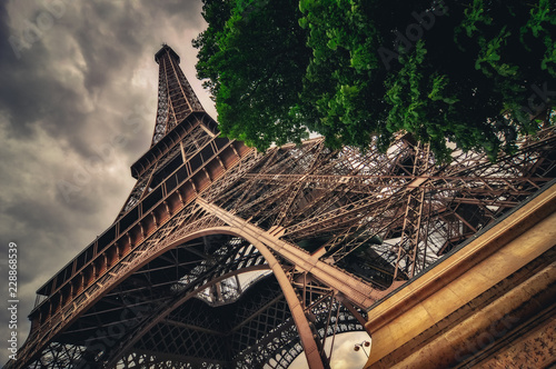 Spoed Foto op Canvas Artistiek mon. View of Eiffel tower in Grungy dramatic style, Paris