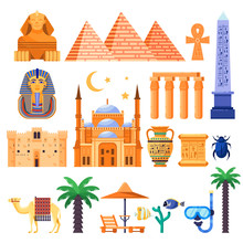 Travel To Egypt Vector Icons And Design Elements. Egyptian National Symbols And Ancient Landmarks Flat Illustration