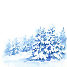Fir Trees Under Snow, Winter F...