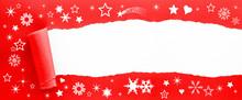 Weihnachtliches Geschenkspapier Aufgerissen - Ihre Botschaft Auf Weißer Fläche
