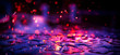 canvas print picture - Puddle of rain, reflection of neon night lights, bright sparks, bokeh background, abstract dark festive background. Night neon city.