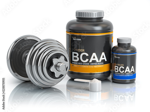 BCAA  branched-chain amino acid with scoop and dumbbell Canvas Print