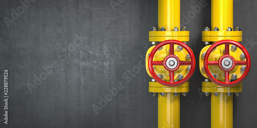 Gas pipeline valve on a wall Wallpaper Mural
