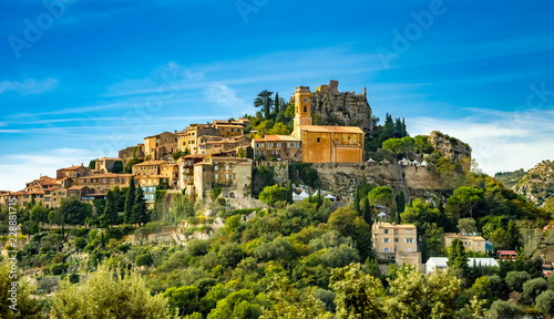 Photo sur Toile Nice Landscape of historical medieval village of Eze on French riviera