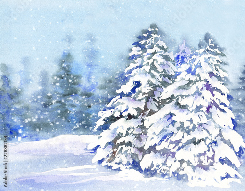 Tuinposter Wintersporten Winter forest with fir trees under snow. Watercolor illustration for greeting cards.