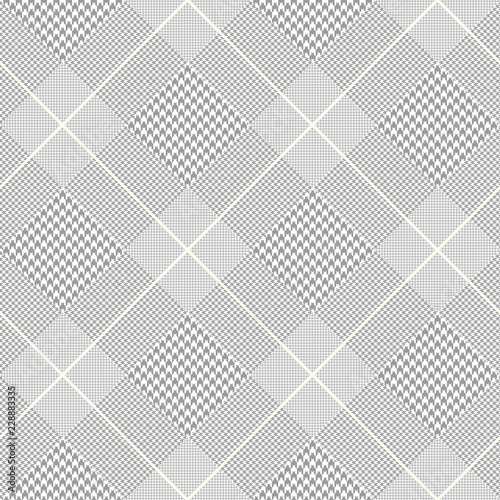 Photo  Seamless Prince of Wales check pattern in gray, white and pale golden cream