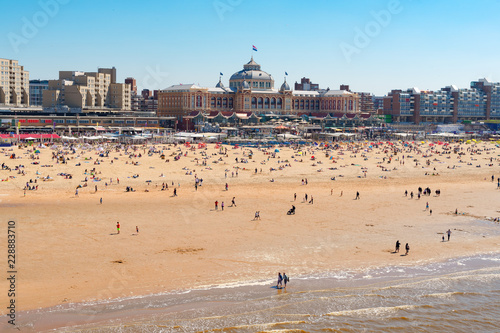 Scheveningen beach with Kurhaus landmark and North sea, The Hague Netherlands Wallpaper Mural
