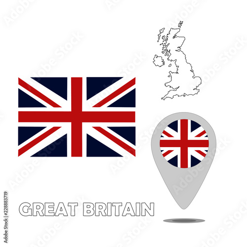 Fotografie, Obraz  Flag. Map. Pointer of United Kingdom