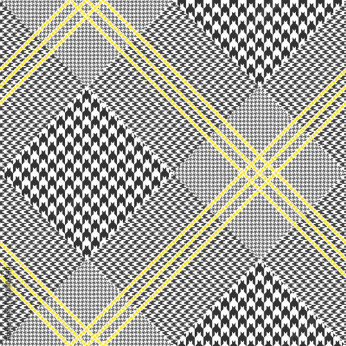 Photo  Seamless Prince of Wales check pattern in black and white with yellow overcheck