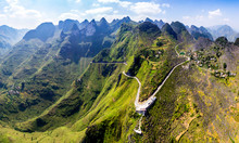 Panoramic View Ma Pi Leng Mountain Pass In Dong Van, Hagiang, Vietnam