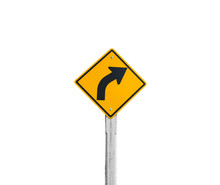 Isolated Yellow Turn Right Sign