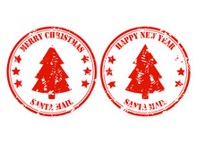 Santa Post Mail Rubber Stamp With Xmas Tree