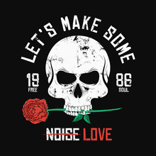 Rock Music Style T-shirt Design. Skull Is Biting And Holding Red Rose. Vintage Slogan Graphic For T-shirt Print With Grunge Background