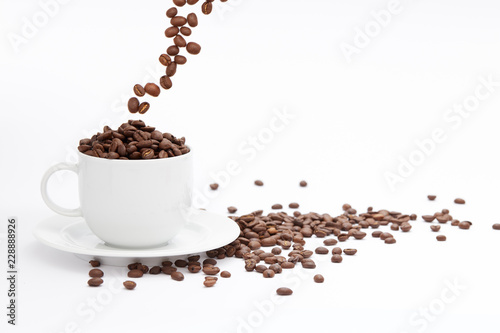 Coffee Cup and beans Isolated on White Background with copy space