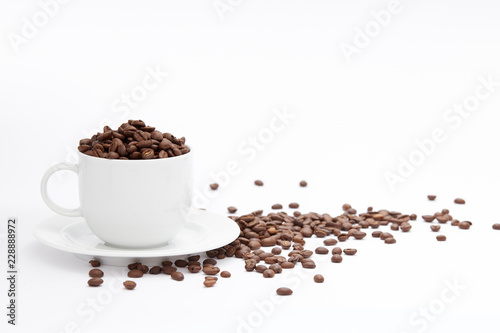 Door stickers Cafe Coffee Cup and beans Isolated on White Background with copy space