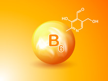 Nutrition Sign Vector Concept. The Power Of Vitamin B6. Chemical Formula