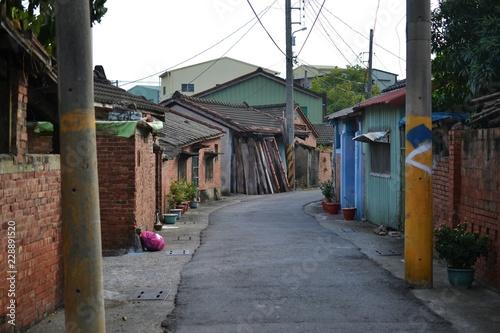 Fototapeta Stare tajwańskie wioski, urocze szałasy i domy, ulice