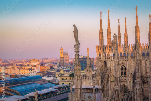 Canvas Prints Kuala Lumpur Evening Milan, view of the city from the terrace of the Duomo