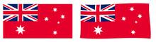 Commonwealth Of Australia Civil Flag Variant (Australian Red Ensign). Simple And Slightly Waving Version.