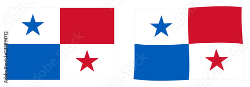 Fotomural  Republic of Panama flag. Simple and slightly waving version.