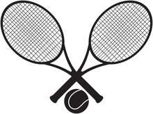 Tennis Sign With Two Crossed Rackets And The Ball Between Them.