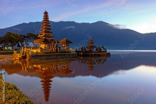 Aluminium Prints Indonesia Sunrise at Pura Ulun Danu Bratan Temple in Bedugul, Bali, Indonesia.