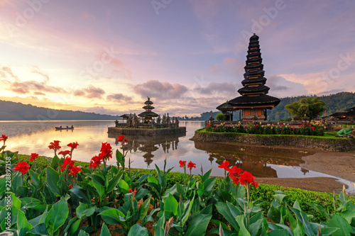 Sunrise at Pura Ulun Danu Bratan Temple in Bedugul, Bali, Indonesia.