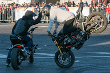 Two Bikers Perform Motorcycle ...