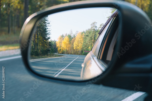 Fotografie, Obraz  look in the rear view mirror of a car