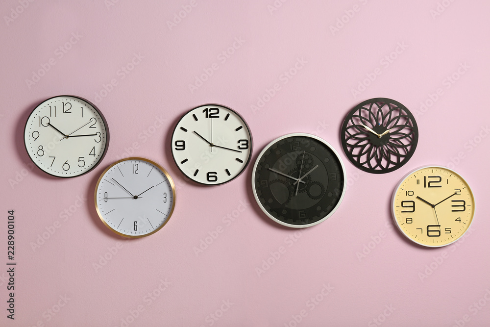 Fototapety, obrazy: Different clocks on color background. Time management