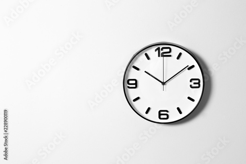 Obraz Stylish clock and space for text on white background. Time management - fototapety do salonu