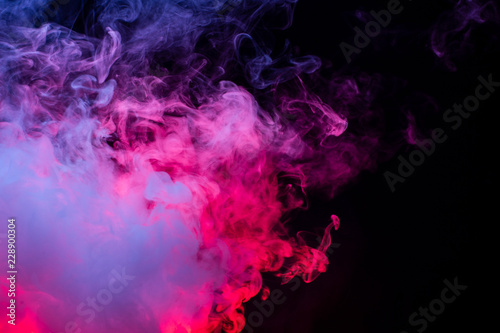 Poster Fumee Colourful cloud of vapor. dark black background