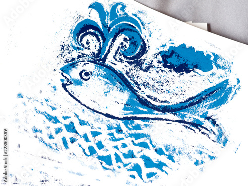 blue whale cute illustration hand painted