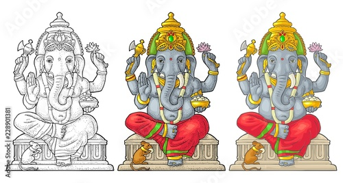 Ganpati with mouse for poster Ganesh Chaturthi Wallpaper Mural