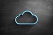 Leinwandbild Motiv Blue cloud icon on blackboard