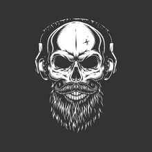 Vintage Monochrome Skull Weari...