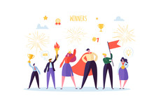 Successful Businessman With Prize. Business Success Teamwork Concept. Manager With Winning Trophy Cup. Leader Man And Woman Celebrating Victory. Vector Illustration