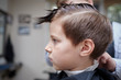 Side view of cute boy getting hairstyle by hairdresser in barbershop.