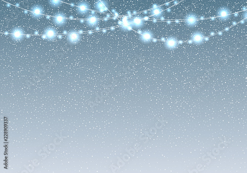 White Christmas Snow Background.Falling Snow With Light Bulb Garland Vector Illustration