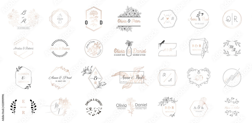 Fototapeta Big set of Wedding monogram logos collection, hand drawn modern minimalistic and floral templates for Invitation cards, Save the Date, elegant identity for restaurant, boutique, cafe in vector