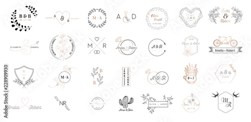 Photo Big set of Wedding monogram logos collection, hand drawn modern minimalistic and