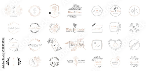 Fototapeta Big set of Wedding monogram logos collection, hand drawn modern minimalistic and floral templates for Invitation cards, Save the Date, elegant identity for restaurant, boutique, cafe in vector obraz